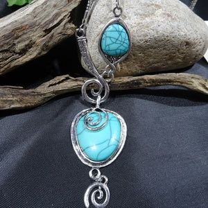 Bohemian  Faux Turquoise Silver Tone Necklace